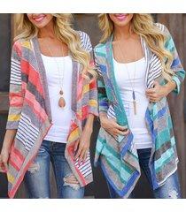 women cardigans long sleeve knitted jacket loose coat top autumn striped outwear