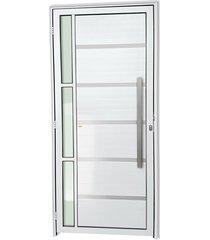 porta direita com lambri e puxador em alumínio super 25 miraggio 210x90cm branca