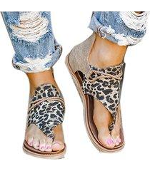 leopard-print casual sandalias boca de pescado suave y transpirable, suela de cuero