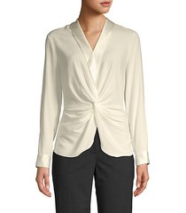 twist front satin trim blouse