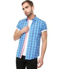 camisa azul-rojo colore