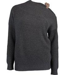 black stone cashmere ribbed off the shoulder monili knit sweater