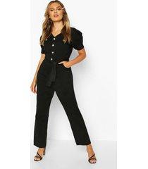 tie waist sleeve detail denim jumpsuit, black