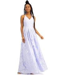 bcx juniors' embroidered overlay gown, created for macy's