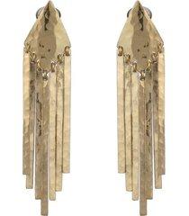 natori gold platedss fringe clip earrings, women's natori