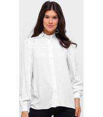camisa manga longa colcci botões gola média feminina