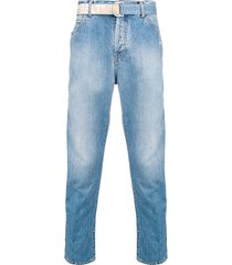 off-white belted straight-leg jeans - blue