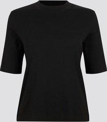 ribbad t-shirt med halvlånga ärmar - svart