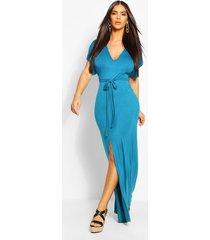 v-neck belted split maxi dress, turquoise