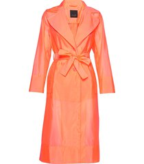 neo - clareta el belt trenchcoat lange jas oranje sand