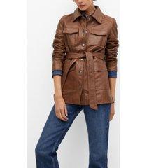 mango saharian leather jacket