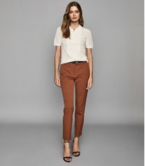 reiss joanne - cropped tailored trousers in rust, womens, size 10