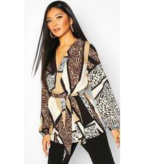 animal print wrap blouse, natural
