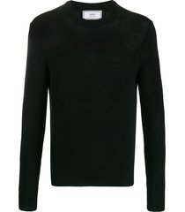 black crepe cotton crewneck sweater
