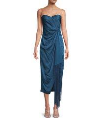 jonathan simkhai women's frances paisley draped midi dress - prussian blue - size 2