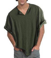 hombres medieval retro transpirable medio longitud camiseta de manga corta con cuello en v