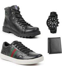 coturno masculino + sapatênis casual + carteira + relógio - masculino