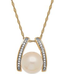 cultured freshwater pearl (9mm) & diamond accent pendant necklace in 14k gold