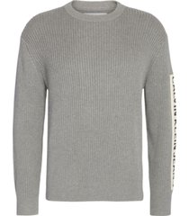 ribbed sleeve patch sweater gris calvin klein
