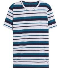 camiseta m/c a rayas azules color blanco, talla l