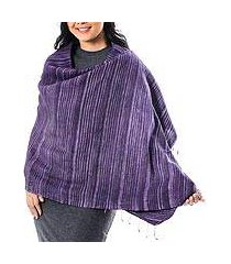 silk and cotton blend shawl, 'gorgeous stripes in purple' (thailand)
