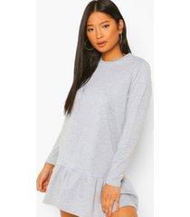 petite gesmokte sweatshirt jurk met laagjes, grey marl