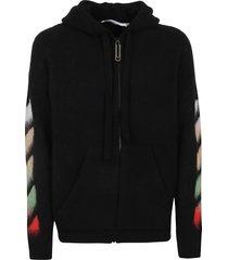 off-white diag brushed zip hoodie