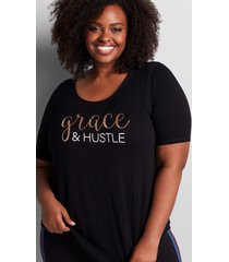 lane bryant women's livi graphic tunic with strappy back - grace & hustle 14/16 black
