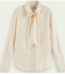 scotch & soda blouse met lange mouwen en strikhals