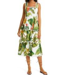 women's farm rio white cocoa forest tiered midi dress, size medium - green