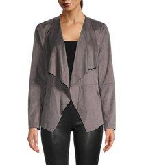 vigoss women's faux suede wrap jacket - rock - size s