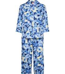 lrl notch collar pj set 3/4 sl pyjamas blå lauren ralph lauren homewear