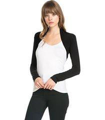 fashion secrets women`s long sleeve rayon cotton bolero shrug cropped cardigan s