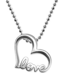 alex woo heart love pendant necklace in sterling silver