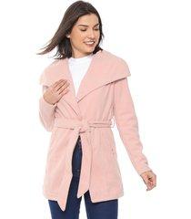 casaco queens paris acinturado rosa - kanui