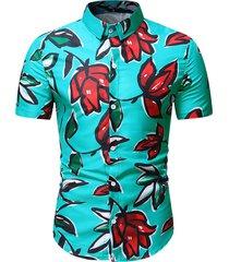 flower print button beach shirt