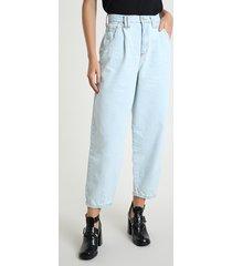 calça jeans feminina baggy cintura super alta azul claro