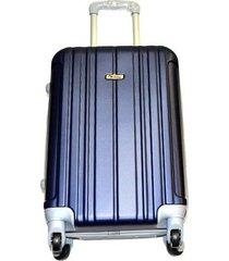 maleta fibra policarbonato mediana 24 pulgadas 4 ruedas - azul