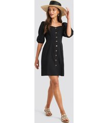 na-kd boho puff sleeve cotton mini dress - black
