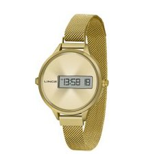 relógio digital lince feminino - sdg4635l cxkx dourado