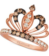 le vian royalty collection chocolate diamonds (1/3 ct. t.w.) & nude diamonds (1/5 ct. t.w.) tiara statement ring in 14k rose gold