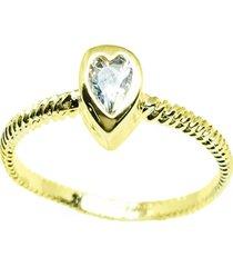 anel kumbayá solitário coração semijoia banho de ouro 18k cravação de zircônia aro trançado