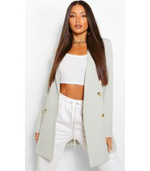 tall double breasted longline oversized blazer, sage
