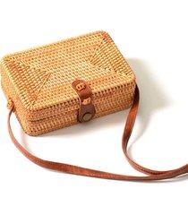 bolsa de palha artestore quadrada em rattan com couro pu