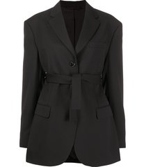 acne studios belted single-breasted blazer - black