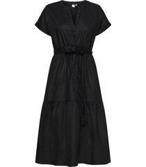 linen-cotton ruffle midi dress knälång klänning svart gap