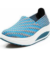 scarpe sportive a dondolo con zeppa con cucito fatto a mano in mix colore