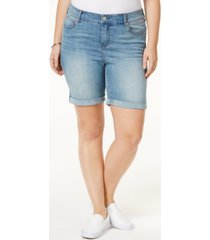 celebrity pink plus size denim bermuda shorts
