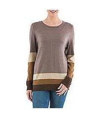 pullover sweater, 'imagine in brown' (peru)