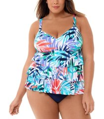swim solutions plus size palm-print tiered tummy control one-piece swimsuit, created for macy's women's swimsuit